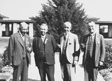 Picture relating to Canberra - titled 'Second Conference of 65th District of Rotary. Delegates - four executive committee members outside Hotel Canberra.'