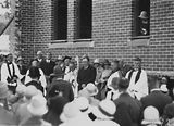 Picture relating to Red Hill - titled 'Laying the Foundation Stone for the Canberra Church of England Boys Grammar School Flinders Way, Red Hill-Clergy and speakers ( Sir John Butters).'