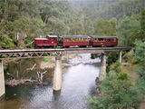 Picture relating to Walhalla - titled 'Train crossing Thompson River Walhalla'