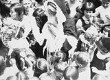 Picture relating to Barton - titled 'Children with Santa Claus at Telopea Park School, New South Wales Crescent, Barton.'