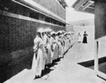 Picture relating to Brisbane - titled 'Kit inspections at the new female division of the Boggo Road Gaol, Brisbane, 1903'