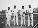 Picture relating to Canberra - titled 'Mr Latham, Sir Littleton Groom, Dr Earle Page and Sir John Butters in tennis gear at the opening of the new Canberra Tennis Association Central Courts, Manuka.'