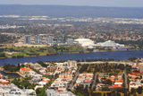 Picture relating to Perth - titled 'Aerial Perth: Swan River & Burswood Resort/entertainment complex'
