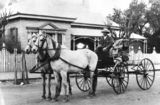Picture relating to Charleville - titled 'Horsedrawn carriage and driver outside the Commercial Bank of Sydney, Charleville, ca. 1906'