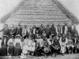 Picture relating to Farleigh - titled 'Group in front of palm leaf church, Mackay District'
