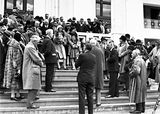 Picture relating to Parliament House - titled 'Visiting AmericanTourists from SS Malole, on the steps of Old Parliament House. Prime Minister Scullen on the right.'