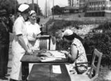 Picture relating to Brisbane - titled 'Nurses voting on Election Day, Brisbane, 1938'