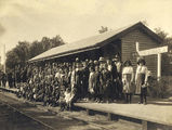 Picture relating to Wallumbilla - titled 'Crowds await the arrival of the recruiting train at Wallumbilla Station'
