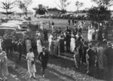 Picture relating to Jimbour - titled 'Social event with parked cars at Jimbour Station, Queensland, 1923'