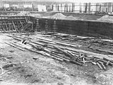 Picture relating to Kingston - titled 'Manuka swimming pool under construction, wall reinforcement being installed, Manuka Circle, Kingston.'