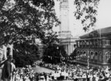 Picture relating to Brisbane - titled 'Crowds gather on Albert Street to welcome the Duke of Gloucester to Brisbane, 1934'