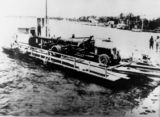 Picture relating to Caloundra - titled 'Naval gun being ferried across to Bribie Island, 1939'