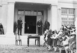 Picture relating to Bruce - titled 'Prime Minister, Right Honourable SM Bruce opening Ainslie School, Donaldson Street, Ainslie.'