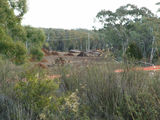 Picture relating to O'Connor - titled 'Piles of wood chips after tree felling on O'Connor Ridge for the Gungahlin Drive extension'