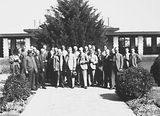 Picture relating to Canberra - titled 'Second Conference of 65th District of Rotary. Delegates outside Hotel Canberra.'