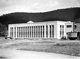 Picture relating to Black Mountain - titled 'CSIR Offices and Laboratories Building with steam shovel. Clunies Ross Street, Black Mountain.'