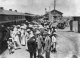 Picture relating to Longreach - titled 'Gathering of people at the Longreach Railway Station, Queensland, ca.1912'