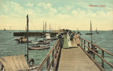 Picture relating to Wynnum - titled 'Ladies watching the boats at Wynnum Jetty, Brisbane, ca. 1907'