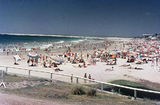 Picture relating to Caloundra - titled 'Crowded beach at Caloundra on the Sunshine Coast, 1966'