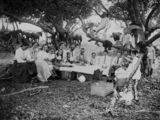 Picture relating to Queensland - titled 'Family picnic in the Queensland bush, 1900-1910'
