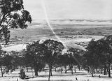 Picture relating to Duntroon - titled 'Snow fall - View from Red Hill over Collins Park, Manuka and Kingston to Duntroon.'
