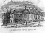 Picture relating to Brisbane - titled 'Immigration Depot at William Street, Brisbane, Queensland, ca. 1868'