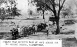 Picture relating to Charleville - titled 'Bullock team bringing a load of wool across Bradley's Gully Bridge, Charleville, ca. 1898'