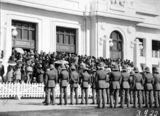Picture relating to Parliament House - titled 'ANZAC Day 1928 - Duntroon Royal Military College Cadets on parade and part of the crowd in front of Old Parliament House'