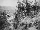 Picture relating to Mount Morgan - titled 'Aerial view of mine and cable car, Mount Morgan, ca. 1897'
