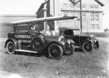 Picture relating to Kingston - titled 'Canberra Fire Brigade fire appliance and brigade car (Armstrong Siddeley) outside Kingston Power Station'