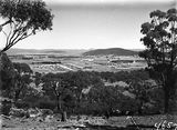 Picture relating to Braddon - titled 'Braddon and Civic Centre from Mount Ainslie, Ainslie Hotel in foreground.'