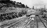 Picture relating to Brisbane - titled 'Construction of railway tracks at Roma Street Station, Brisbane, 1921'