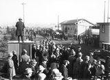 Picture relating to Canberra - titled 'Royal Visit, May 1927 - Crowds at the Canberra Railway Station awaiting the arrival of the Royal Train.'