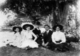 Picture relating to Brisbane - titled 'Relaxing in the City Botanic Gardens, Brisbane, ca. 1911'