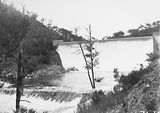 Picture relating to Cotter Dam - titled 'Cotter Dam spillway and stilling pond'