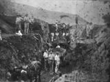 Picture relating to Grandchester - titled 'Railway workers digging a cutting for the Grandchester line'