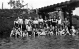 Picture relating to Kilcoy Creek - titled 'Swimming lessons for the boys of Kilcoy State School, 1929'