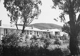 Picture relating to Black Mountain - titled 'Buildings in the Canberra Community Hospital. Black Mountain behind.'