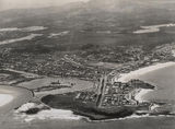 Picture relating to Gold Coast - titled 'Aerial view looking towards Point Danger, Coolangatta, ca. 1952'