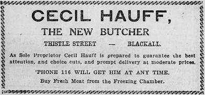 Picture of / about 'Blackall' Queensland - Advertisement for Cecil Hauff, Blackall butcher, 1931