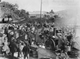 Picture relating to Cooktown - titled 'Merry-go-round being assembled at a Cooktown fair, ca. 1895'
