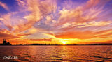 Picture relating to Lake Macquarie - titled 'Lake Macquarie -Power Station Splendour -  Sunset Panorama.'