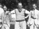 Picture relating to Canberra - titled 'Canberra Golf Course. Three golfers. F X Schnieder on left.'