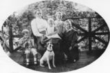 Picture relating to Gatton - titled 'Portrait of the Brunnich family, taken on the verandah of their home at Gatton, Queensland'