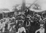 Picture relating to Queensland - titled 'South Sea Islanders on the deck of the 'Moresby', Queensland'