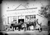 Picture relating to Stanthorpe - titled 'Group of men and a horse and cart outside Davis, Harris & Co., Stanthorpe, 1872'