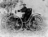 Picture relating to Maryborough - titled 'Dr. H. C. Garde in his Holsman high wheeler, Maryborough, ca. 1908'